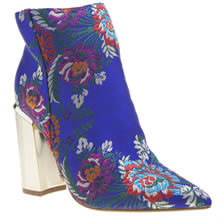 Missguided Blue Block Heel Ankle Boots