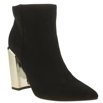 Missguided Black & Gold Block Heel Ankle Womens Boots