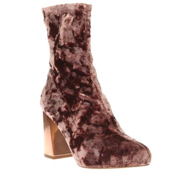 Missguided Pink Velvet Block Heel Womens Boots