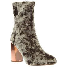 Missguided Grey Velvet Block Heel Womens Boots