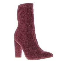 Missguided Pink Glitter Sock Boot Womens Boots