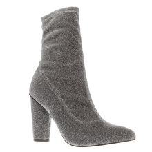 Missguided Silver Glitter Sock Boot Boots