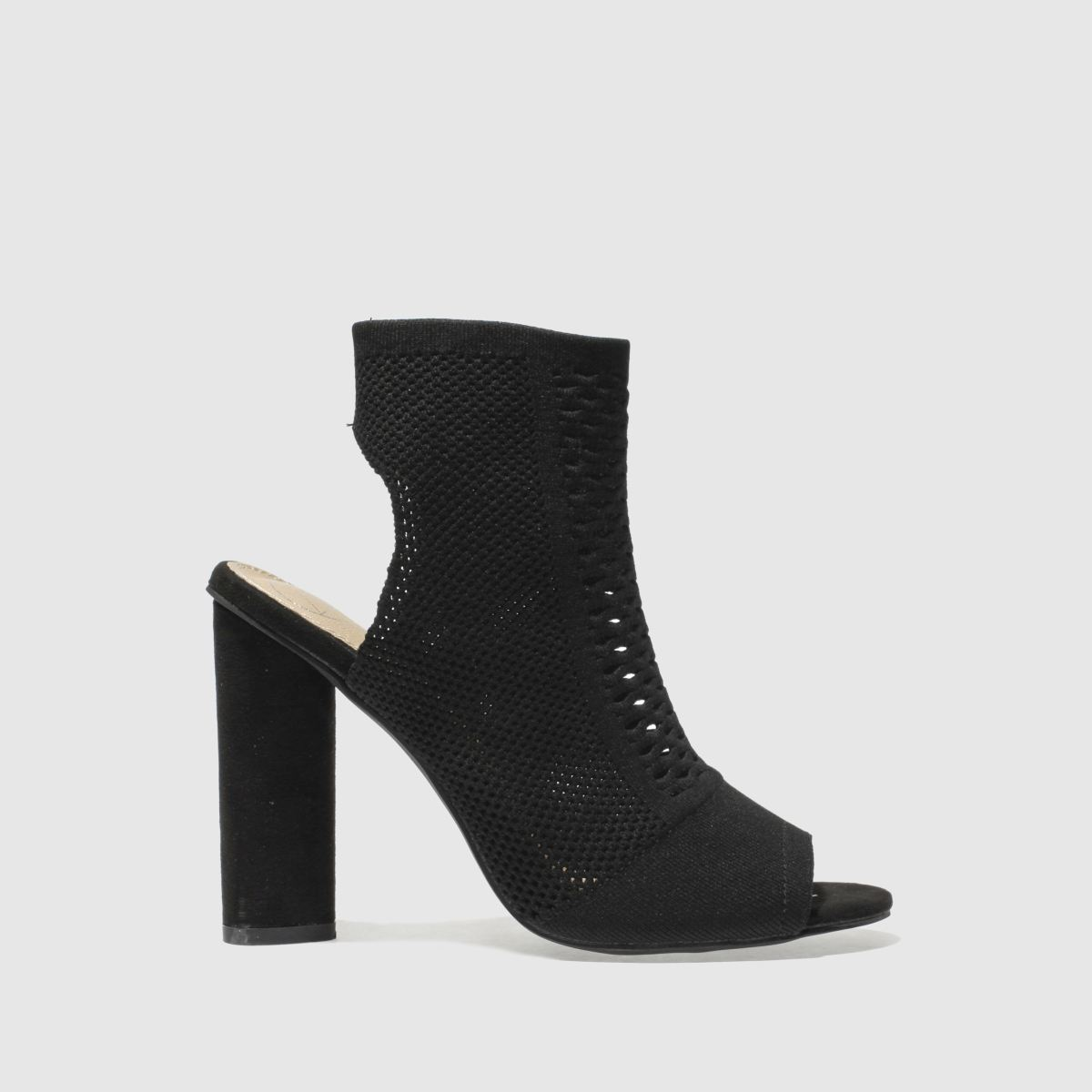 Missguided Black Peep Toe Knitted Boots