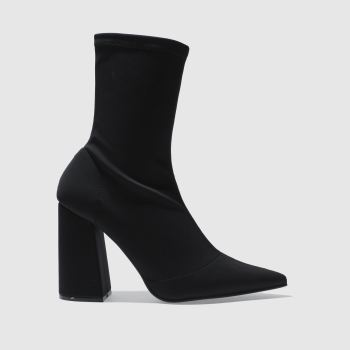 Missguided Black Flared Heel Sock Womens Boots