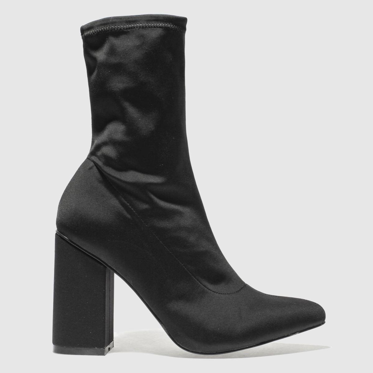Missguided Black Block Heel Sock Boots