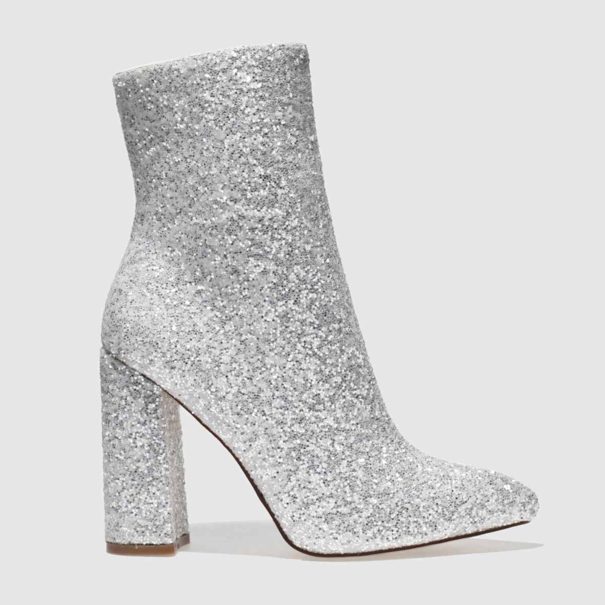 missguided Missguided White Flared Glitter Boots