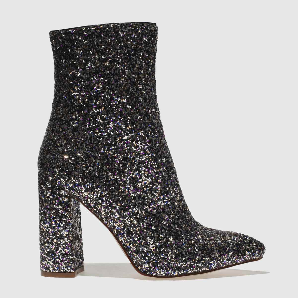 missguided Missguided Black & Purple Flared Glitter Boots