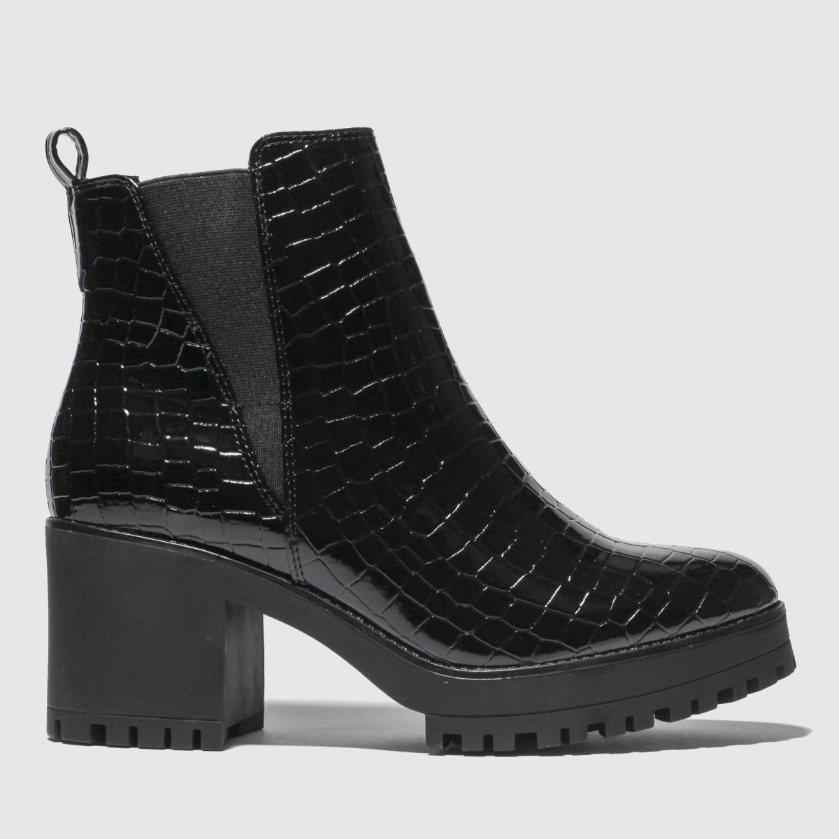 Missguided Black Croc Chelsea Chunky Ankle Boots