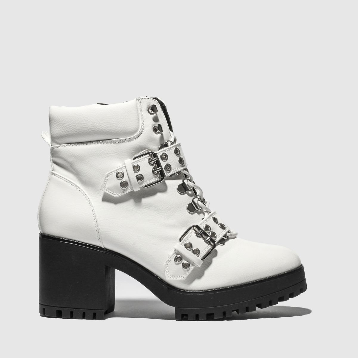 Missguided White Chunky Sole Double Strap Biker Boots