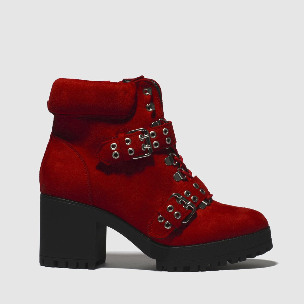 Missguided Red Chunky Sole Double Strap Biker Boots