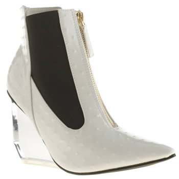 Womens Privileged White & Black Applause Patent Boots