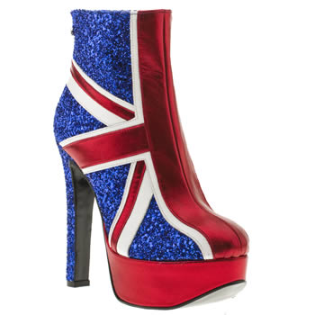 womens red or dead navy & red dazzle glitter boots