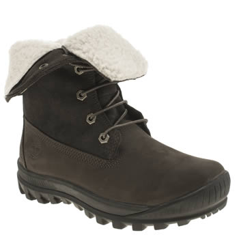 Womens Timberland Dark Brown Woodhaven Roll-down Boots