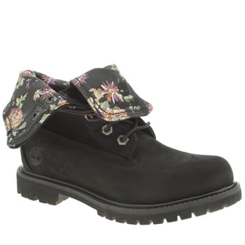 Timberland Black & Purple Authentic Flora Fold Down Boots