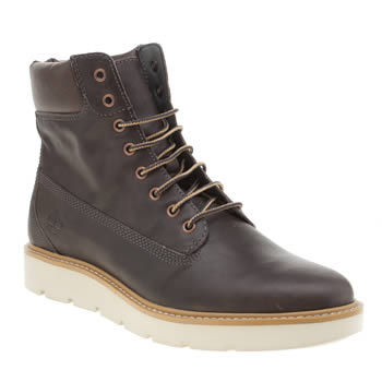"TIMBERLAND DARK BROWN KENNISTON 6"" LACE BOOTS"