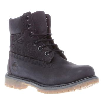 Timberland Navy 6 Inch Premium Embossed Roses Boots
