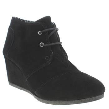Womens Toms Black Desert Wedge Boots