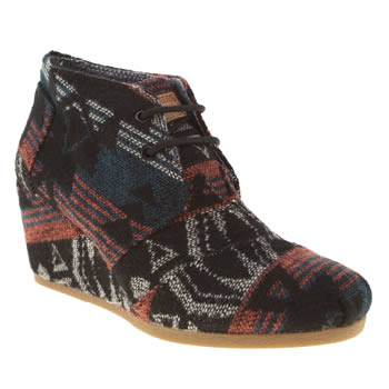womens toms black & red desert wedge boots