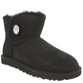 Womens Ugg Australia Black Mini Bailey Button Bling Boots