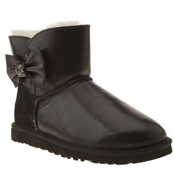 womens ugg australia black mini bailey bow crystal boots