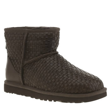 Womens Ugg Australia Brown Classic Mini Woven Boots