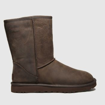 Ugg Brown Classic Short Ii Leather Womens Boots
