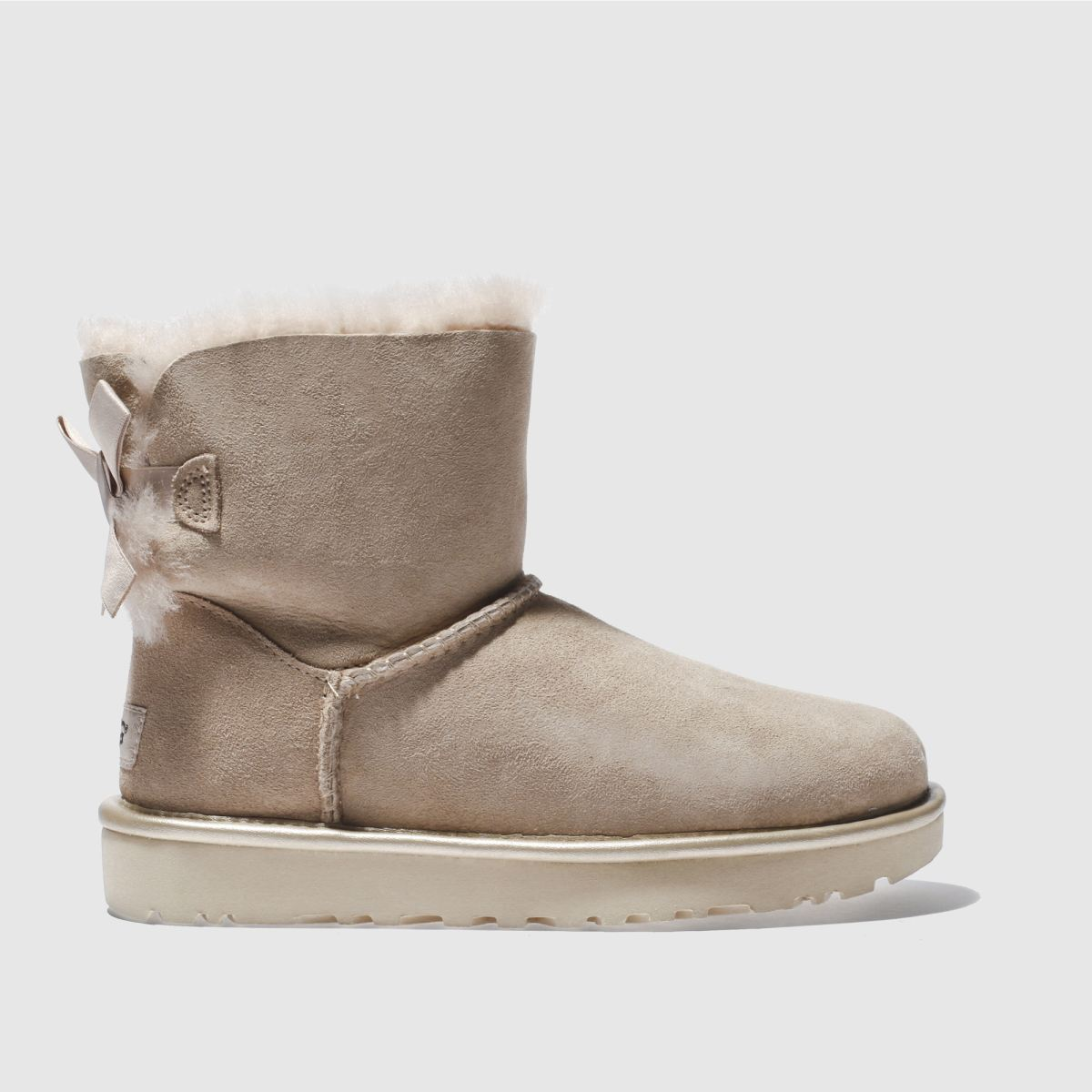 ugg natural mini bailey bow ii metallic boots