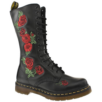 womens dr martens black & red 14 eye emb roses bt boots