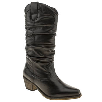 Schuh Black Gily Slouch Cowboy Boots