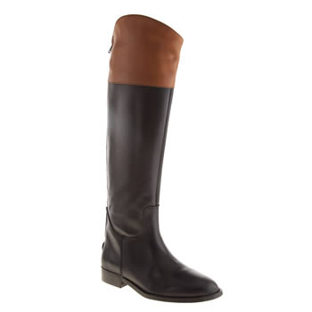 Womens Schuh Black & Brown Gallop Boots