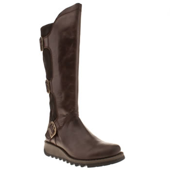 womens fly london dark brown sminx mynd calf boot boots