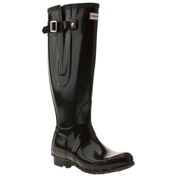 Womens Hunter Black Original Adjust Gloss Boots