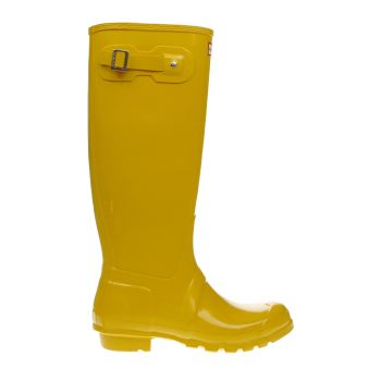 Hunter Yellow Original Tall Gloss Boots