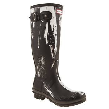 womens hunter black & white original nightfall boots