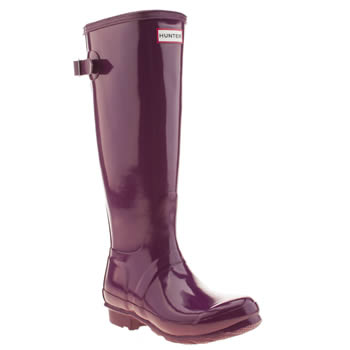 womens hunter purple original back adjust gloss boots