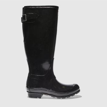 Hunter Black Original Back Adjust Gloss Womens Boots