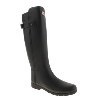 Womens Hunter Black Refined Back Strap Boots