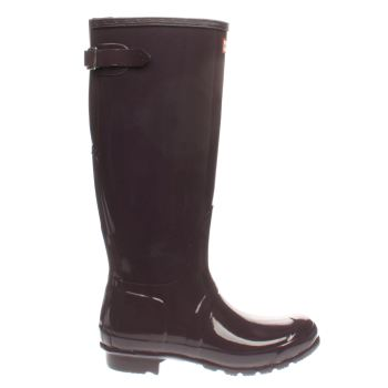 Hunter Purple Back Adjustable Gloss Womens Boots