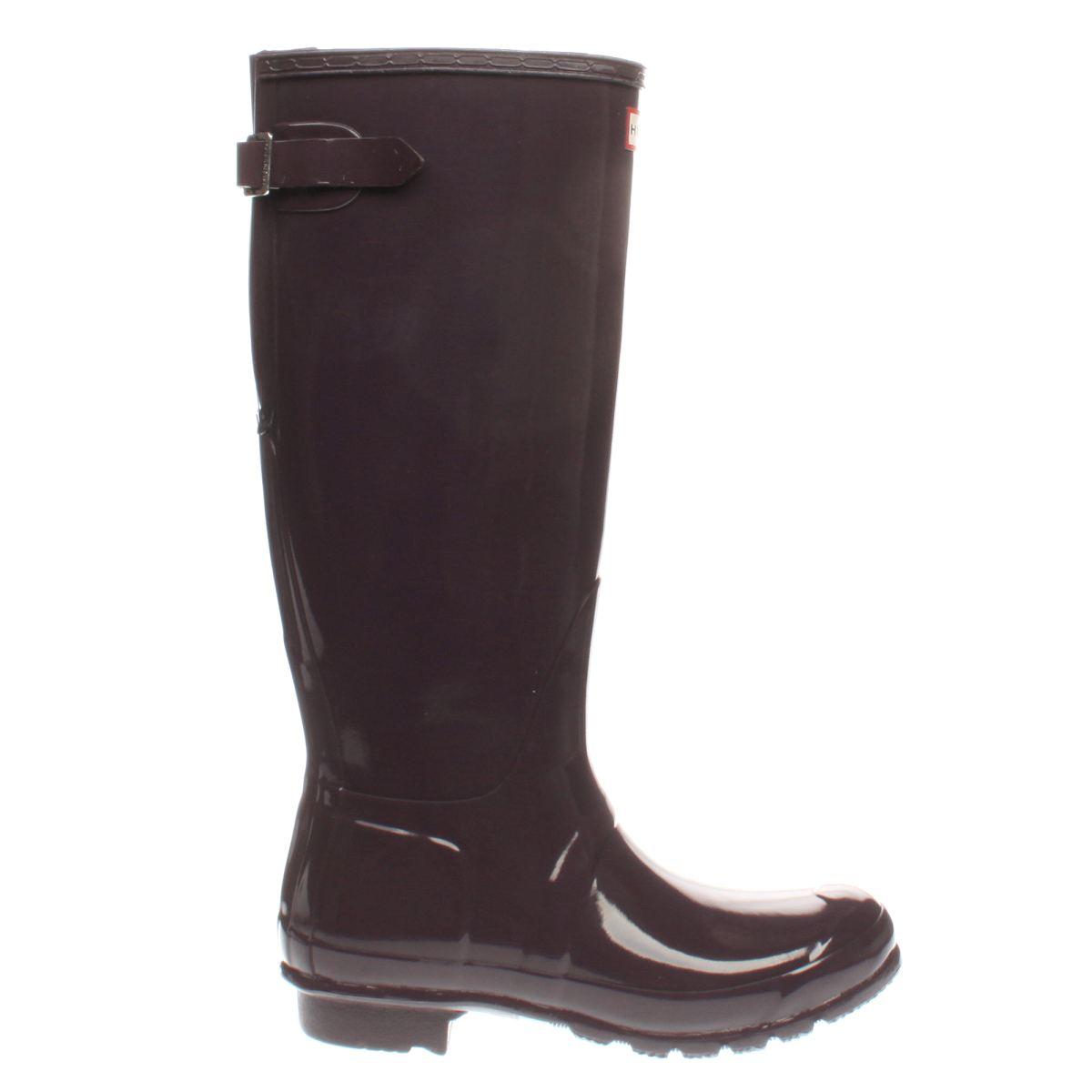 hunter purple back adjustable gloss boots