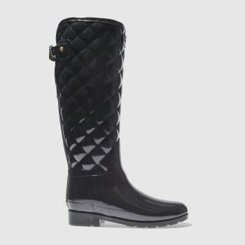 Hunter Black Refined Gloss Quilt Tall Womens Boots