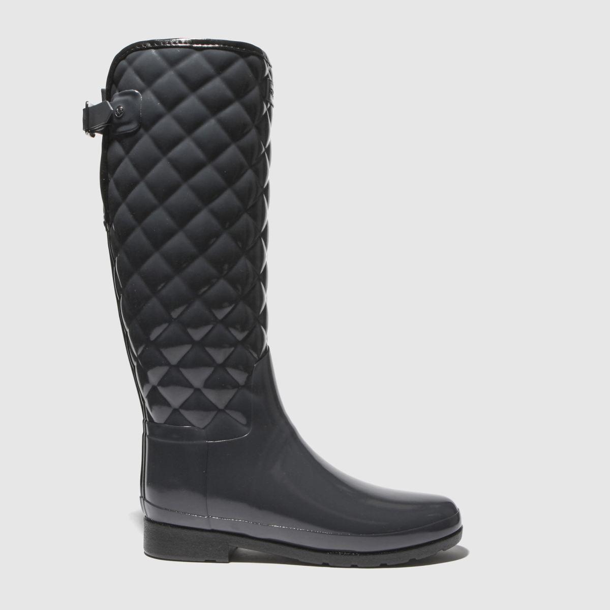 Hunter Dark Grey Refined Gloss Quilt Tall Boots