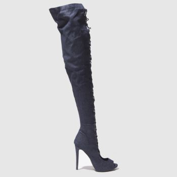 Missguided Navy Lace Up Peep Toe Womens Boots