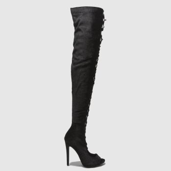 Missguided Black Lace Up Peep Toe Womens Boots