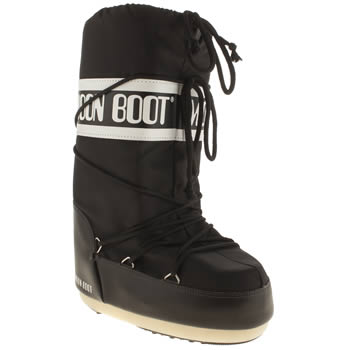 Moon Boot Black & White Nylon Boots