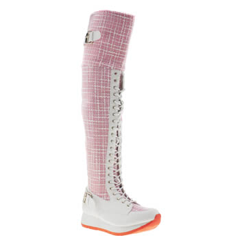 Womens Privileged White & Pink Santee Boots