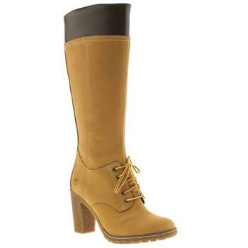 Womens Timberland Natural Glancy Tall Lace Side Zip Boots