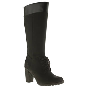 Womens Timberland Black Glancy Tall Lace Side Zip Boots