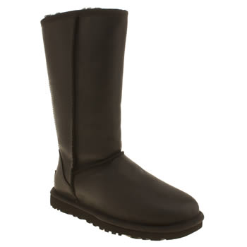 Womens Ugg Australia Black Classic Tall Leather Braid Boots