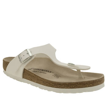 Womens Birkenstock White Gizeh Sandals