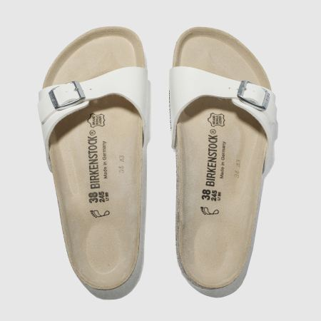 Luxury Details About Birkenstock Sandals For Women Flat Footbed White Patent